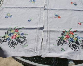 Set of Two Hand Embroidered Table Runner - Old Time Cars with Brightly Colored Flowers