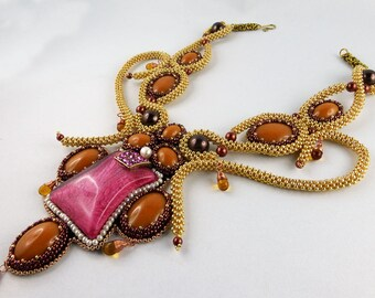 Collier, Necklace, Bead Embroidery