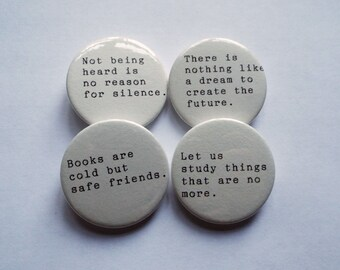 Les Miserables - Victor Hugo Quotes - Pin Button Badges x 4 - Set 2