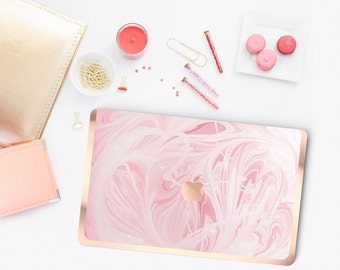"Pink Marble Swirl with Rose Gold Edge Detailing Hybrid Hard Case for Apple Mac Air & Mac Pro Retina, Mac 12"" -  Platinum Edition"