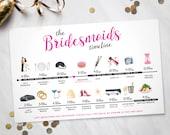 Bridesmaids Big Day Time line – Wedding Day Time line (Digital File)