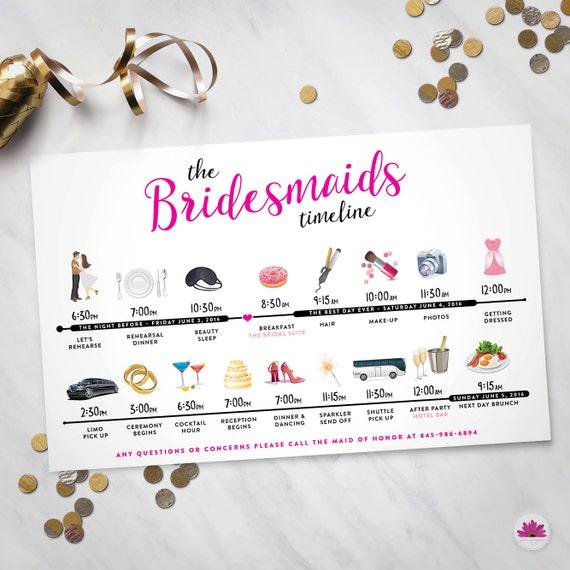 Bridesmaids & Groomsmen Time Line Wedding Day Time Line