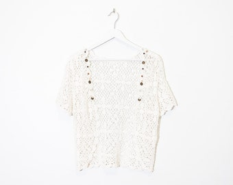 cream beaded open crochet vest / macrame short sleeve cardigan / size M / L