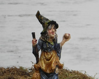 Miniature Fairy Garden Witch with broom and apple, accessories for Halloween miniature garden, terrarium supplies