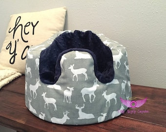 Premier Prints Grey Deer and Navy Minky Silhouette Bumbo Cover