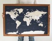 Push Pin Travel Map - World Map - Framed World Map - Navy Blue Map - World Map Wedding - World Push Pin Map - 24x36