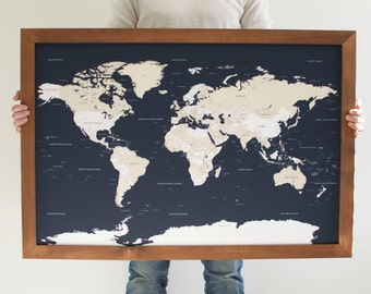 Push Pin Travel Map - World Map - Framed World Map - Navy Blue Map - World Map Wedding - World Push Pin Map - 24x36- Christmas Gifts For Men