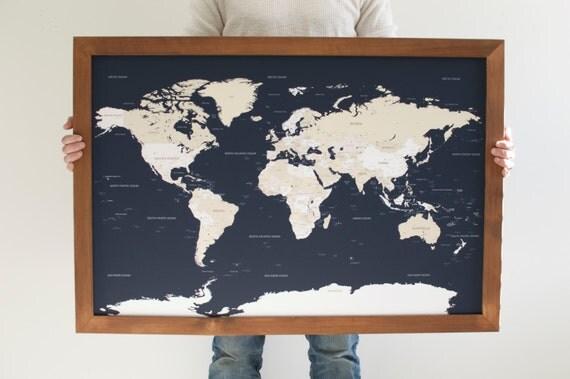 Push Pin Travel Map World Map Framed World Map Navy Blue