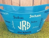 Personalized Monogrammed Boys Easter Basket, Toy Storage, Oval Tub, Birthday Party Snack Tub, Baby Shower or Bridal Shower Gift