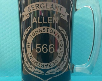 Police Officer Mug, Personalized with Badge and Name, 25 ounce Mug, Blue Lives Matter