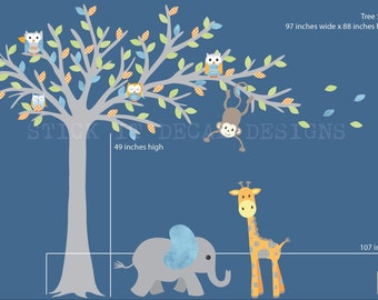 Blowing Tree Wall Decal, Jungle Wall Decal, Owl Nursery Wall Art, Nursery Wall Decal, Monkey Wall Sticker, Boy Bliss Design