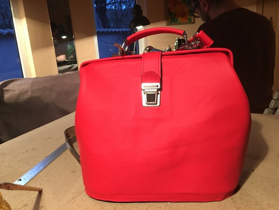 Top Handle Bag, leather Handbag, Leather Bag, Leather Purse, Woman Doctor Bac, red Doctor Bag,  Medical Bag