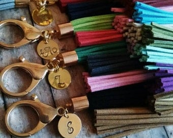 Hand stamped personalized tassel keychain