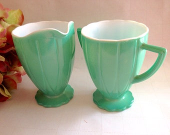 "Hazel Atlas Platonite ""Newport Hairpin"" Green Creamer And Sugar 1950s Collectible/ USA Made/Kitchen Glasswares/Replacements"