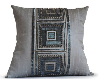 Throw Pillow Cover, Grey Silk Pillow, Gray Silk Bead Pillow, Decorative Pillow Cover, Geometric Pillow, Handmade Pillow, Housewarming Gift