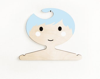 Boys plywood clothes hanger -  Blue haired boy
