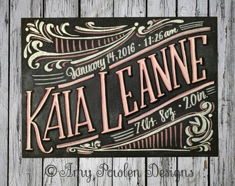 Hand-painted birth announcement chalkboard