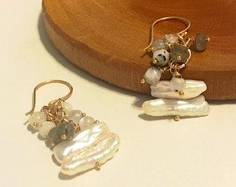 Gold Earrings Freshwater Pearls Sticks, Rutilated Quartz, Labradorite 24K gold ove sterling Vermeil French Hook Hypoallergenic Earrings