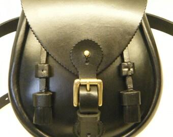 Handmade Black Buckled & Tassled  Leather Lomond Sporran