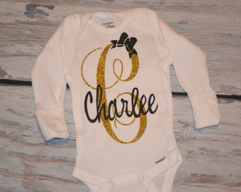 Personalized Onsie, Baby Girls, Take Home Outfit, Birthday Shirt, Initial with Name and Bow - Black & Gold