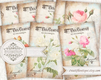 Set of 8 cards 6х9 cm. Vintage Roses cards. Digital collage sheet for scrapbooking or packaging.