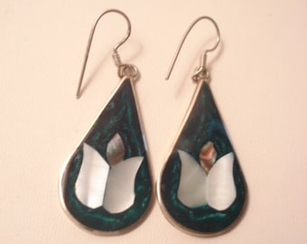 Vintage Inlay Earrings Mother Of Pearl, Abalone Marked Alpaca Mexico Flower Earrings