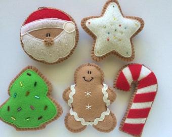 Set of 5 Felt Christmas Cookie Ornaments-Christmas Decorations-Felt Christmas Ornaments-Tree Ornaments-Felt Cookies-Cookie Ornaments