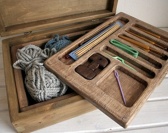 Free Shipping. Knitting Storage Box for Knitting Supplies.Occasion. Organizer.