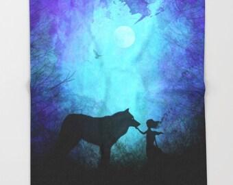 Super Soft Blanket | Wolf Blanket | Native American Blanket | Gypsy Blanket | Forest Blanket | Galaxy Blanket | Wolf silhouette
