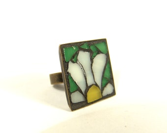 Flower ring, stained glass ring, mosaic adjustable ring, free shipping