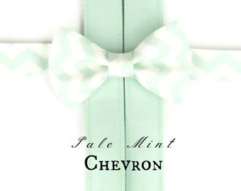 Pale Mint Bow Tie and Suspenders:  Toddler Suspenders, Suspenders and Bow Tie, Boys Braces, Light Green, Wedding, Ring Bearer