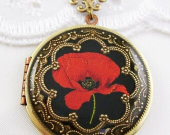 Poppy Locket,Red Poppy Locket, Photo Locket, Valentine Gift For Her, Wedding Locket Picture Locket