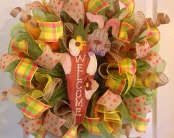 Easter Wreath/ Easter Bunny Wreath/ Spring Mesh Wreath / Deco Mesh Easter Wreath/ Deco Mesh Carrot Wreath/ Welcome Easter Door Decor