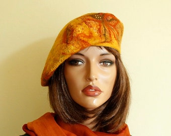 Multicolor beret felted Nunofelt nuno felt beret French beret Silk wool beret Designer hat,Designer beret accessories woman