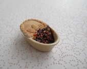 Dollhouse Miniatures -  Handmade British Pottery Oval Stoneware Baking Dish with Beef Pot Pie - Cut Into