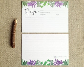Herb Recipe Cards, Set of 12