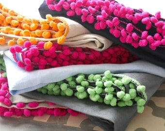 Natural Linen Scarf, Ladies Pom Pom Scarf, For Her, Bed Throw, Shawl