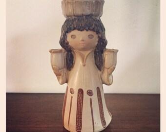 Vintage UCTCI Stoneware Girl Csndle Holder - Japan