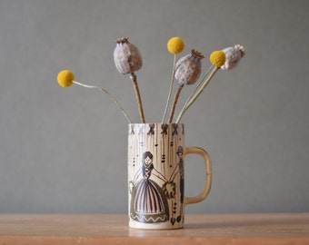 Vintage Danish -  mug vase - folk dance motif  - ADY keramik - midcentury