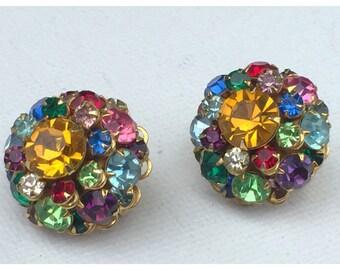 Rainbow Colored Rhinestone Cluster Clip on Earrings, Beautiful Sparkling Rhinestone Cluster Earrings