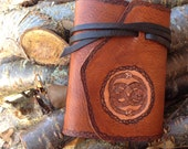 double snakes celtic knot handmade leather journal, medieval sketchbook, rustic leather writer's log, dream, prayer, meditation, spell book