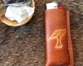 "handmade leather ""lanky 'shroom"" bic lighter case cover"