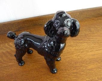 Vintage COOPERCRAFT Bone China Black  POODLE Dog   Made in Englland