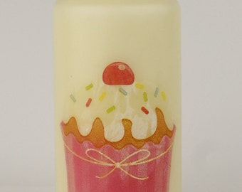 Ivory colour pillar candle with cupcakes design