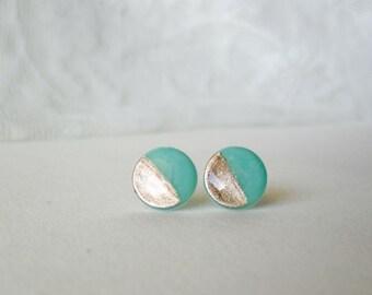Mint gold stud earrings- Elegant and everyday earrings- Delicate post earrings- Gift for her