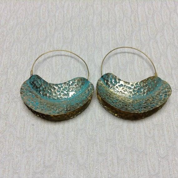 Fulani Earrings: Fulani Patina Gold Brass Earrings Afrocentric Patina