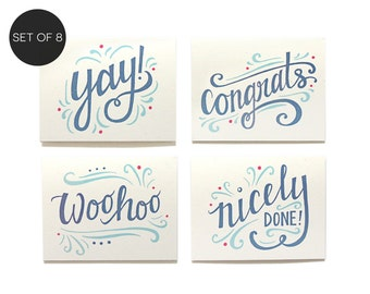 Congratulations Assorted Note Card Set of 8 (A2) - Congrats Boxed Set - Graduation Card Set