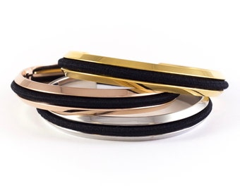 GROOVED Bracelet Cuff Set of 3, Stainless Steel or Brass, Wedding Bridesmaid Gift Set