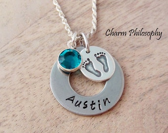Baby Name Necklace - New Mom Jewelry - Child Memorial Gift - Personalized Hand Stamped Name and Birthstone