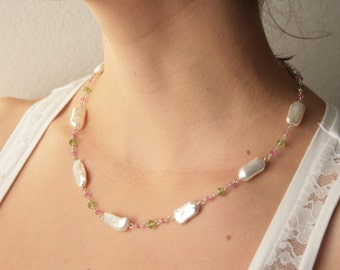 classic necklace genuine Biwa pearls peridot pink sapphires in sterling silver - bridal pearls necklace- elegant necklace baroque pearls